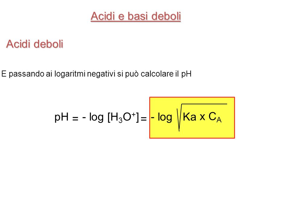 Acidi e basi deboli Acidi deboli pH x CA = Ka - log [H3O+] - log